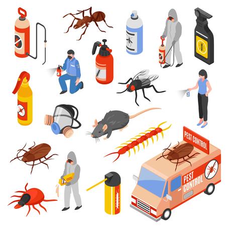 Pest Control Service Arbeiter 3d isometrische Icons Set isoliert auf weißem Hintergrund Vektor-Illustration Standard-Bild - 86223078