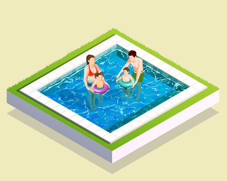 Swimming pool family isometric composition with square swimming bath adult parents and teenage children faceless characters vector illustration