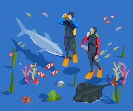 Schnorchelnde isometrische Zusammensetzung des Schnorchelns mit zwei Sporttauchern in den nassen Klagen und in der Meeresgrundlandschaft vector Illustration