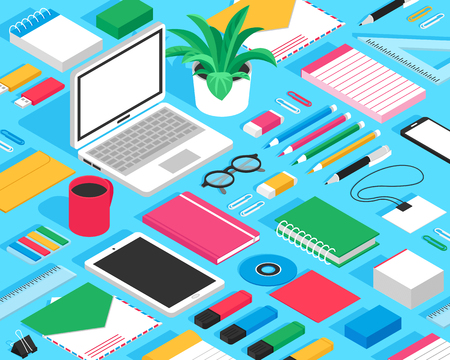 Classic office stationary accessoires colorful mockup isometric seamless design with erasers notepads markers glasses blue background vector illustration