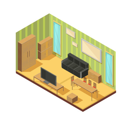 Isometric furniture composition of living room cabinetry tables hanging robe dresser couch mirrors and lounge settee vector illustration