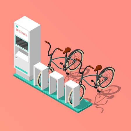 Isometric composition with electronic bicycle renting station on pink background 3d vector illustration 向量圖像