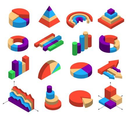 세그먼트 막대 열의 모양에 infographics 레이아웃에 대 한 16 개의 등각도 다이어그램 요소의 집합 라운드 피라미드 화살표 큐브 격리 벡터 일러스트 레이
