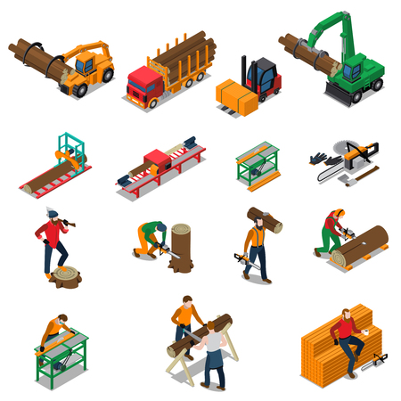 Colored and isolated sawmill timber mill lumberjack isometric icon set with sawmill worker and his tools vector illustration Ilustracja