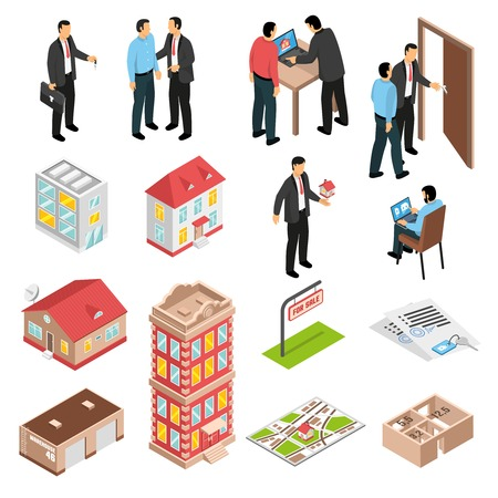 Real estate agency isometric set with customers and various types of buildings isolated vector illustration Ilustração
