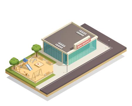 Composition isométrique avec aire de jeux pour enfants, y compris les balançoires, diapositive, cadre d'escalade près de magasin avec illustration de lampadaires Banque d'images - 86223096