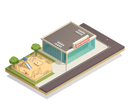Isometric composition with kids playground, including swings, slide, climbing frame near shop with street lights vector illustration Illustration
