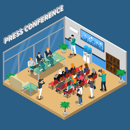 Press conference isometric composition with speakers and auditorium, video and photo shooting on blue background vector illustration Ilustração
