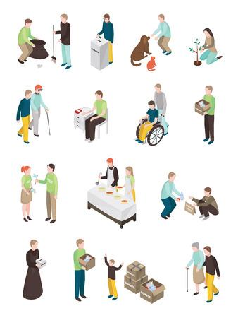 Ensemble isométrique de personnes bénévoles de bienfaisance de caractères humains isolés d'âge différent faisant diverses illustrations vectorielles d'activités humanitaires