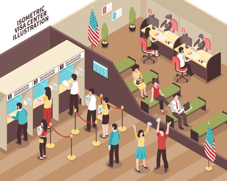Visa center interior with people in waiting hall isometric vector illustration Иллюстрация