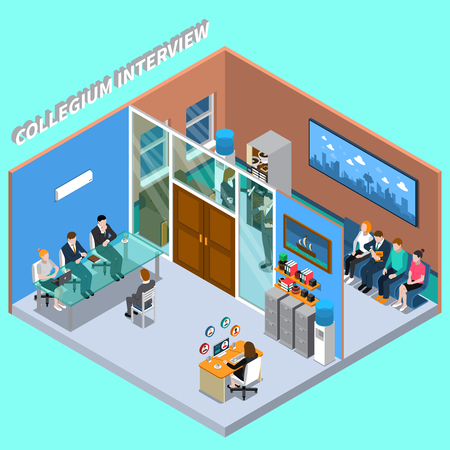Colored recruitment hiring HR management isometric people composition with collegium interview scene vector illustration Illustration