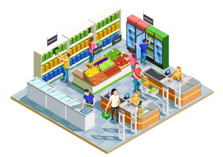 Male and female adults doing shopping in small supermarket on white background 3d isometric vector illustration