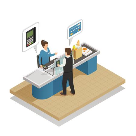 Composizione isometrica di elaborazione elettronica dei pagamenti con la venditrice che partecipa al cliente che paga con l'illustrazione vettoriale della carta di credito della banca Vettoriali
