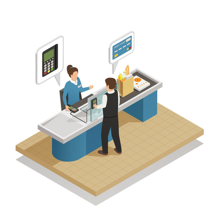 shop assistant: Electronic payment processing isometric composition with saleswoman attending customer paying with credit bank card vector illustration