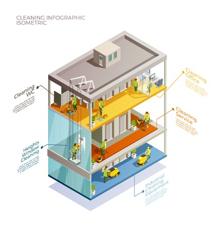 Cleaning infographic isometric layout with visual information of equipment industrial alpinism and cleaning services vector illustration