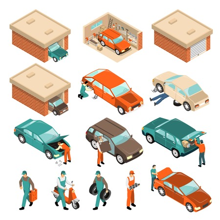 Isometric set with vehicle in brick garage, car repair, man with tyres, scooter, canister isolated vector illustration Illustration