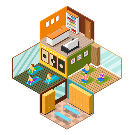 Different rooms of modern fitness studio and women practising yoga on white background 3d isometric vector illustration
