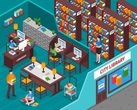 Stadsbibliotheek met boekenwerknemer bij de binnenlandse elementen van werkplaatsbezoekers en mening van straat isometrische vectorillustratie