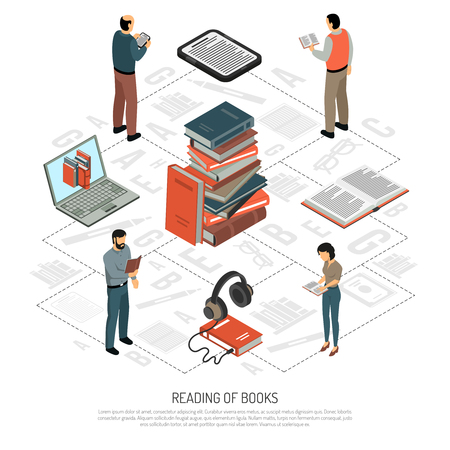 Book reading isometric flowchart with stack of paper books headphones notebook electronic book reading people icons vector illustration Illustration
