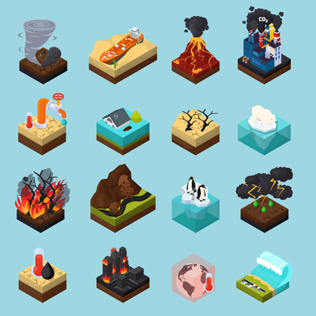Global warming set of orthogonal isometric icons with climate changes on blue background isolated vector illustration  イラスト・ベクター素材