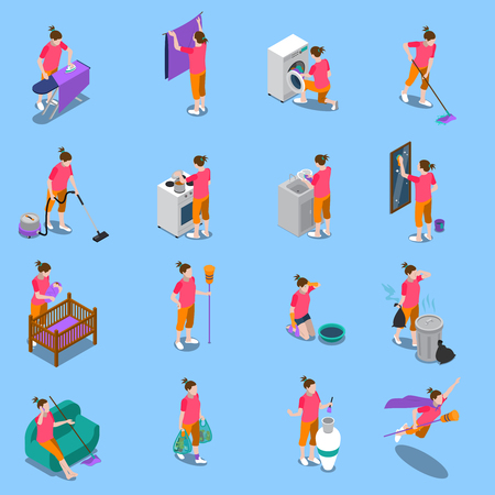 Isometric icons set with housewife during home cleaning, cooking, child care on blue background isolated vector illustration