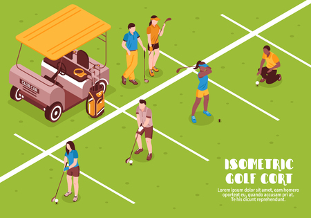 Golf cort with people equipment ball and grass isometric vector illustration