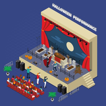 Colored and isometric monster halloween composition with Halloween performance in scary theatre vector illustration
