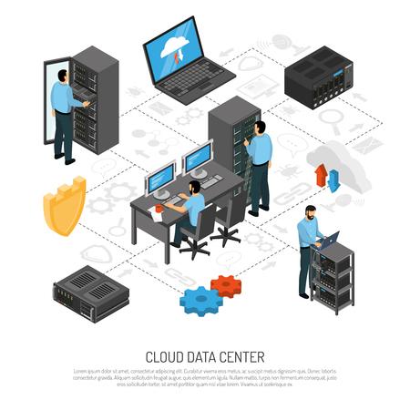 Diagrama de flujo isométrico de centro de datos en la nube con personal técnico y bastidores de unidades de servidor ilustración vectorial Ilustración de vector