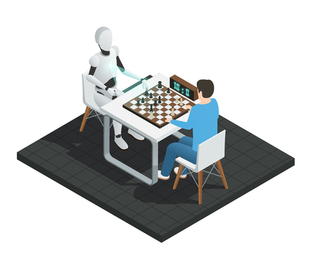 Colored realistic artificial intelligence isometric composition robot playing chess with a man vector illustration