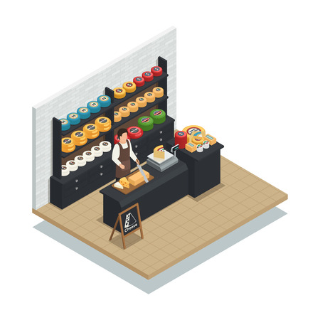 Cheese seller specialist isometric icon with hard emmental soft mozzarella and creamy italian production varieties vector illustration Ilustração
