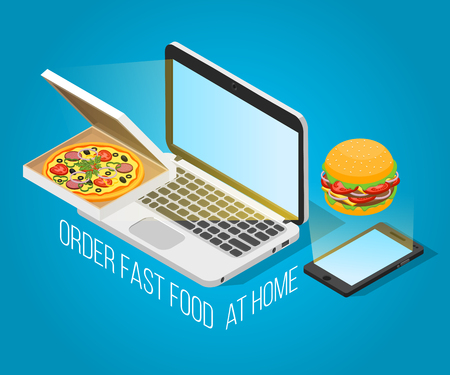 Fast food order at home isometric design concept with notebook smartphone pizza and hamburger decorative icons on blue background vector illustration