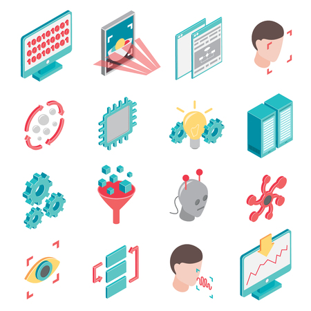 Machine learning isometric set of isolated icons with computer gear and robotic elements of neuron network vector illustration