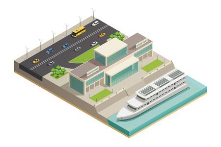 De moderne bouw van de rivierhaven met luxueuze vastgelegde vakantiekruiser en weg op achtergrond isometrische samenstellings vectorillustratie