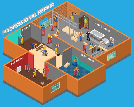 Isometric home repair worker people composition with professional repair services in bathroom bedroom living room and studio vector illustration