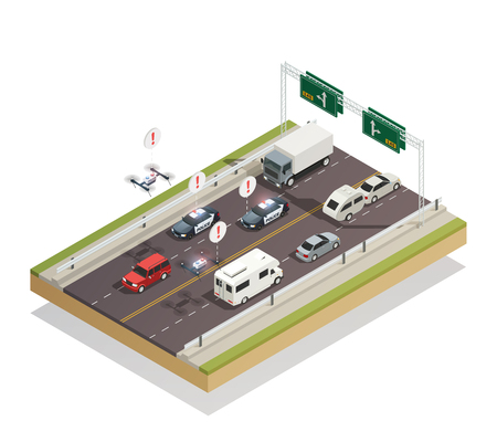 Smart city infrastructure technology connecting and controlling cars buses trucks and drones traffic isometric composition vector illustration Illustration
