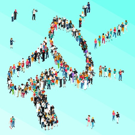 Colored crowd people isometric megaphone with large number of people combined in big megaphone vector illustration Çizim