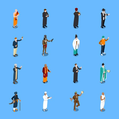 Isometric icons set with people from world religion in traditional clothing on blue background isolated vector illustration