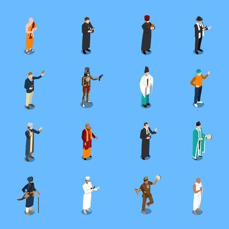 Isometrische die pictogrammen met mensen van wereldgodsdienst worden geplaatst in traditionele kleding op blauwe achtergrond geïsoleerde vectorillustratie