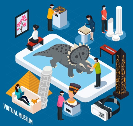 royals: Colored and isometric virtual travel landmarks museum concept with virtual reality in smartphone vector illustration
