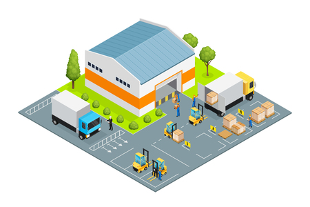 Warehouse outside view with parking places for trucks and loaders, workers and cargo, lawn isometric vector illustration