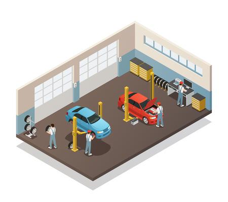 자동차 수리 유지 보수 자동 서비스 스테이션 아이소 메트릭 뷰 인테리어와 자동차 정비공 팀 2 차량 벡터 일러스트와 함께