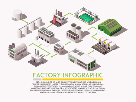 Factory isometric infograpphica with industrial buildings and text field 3d vector illustration