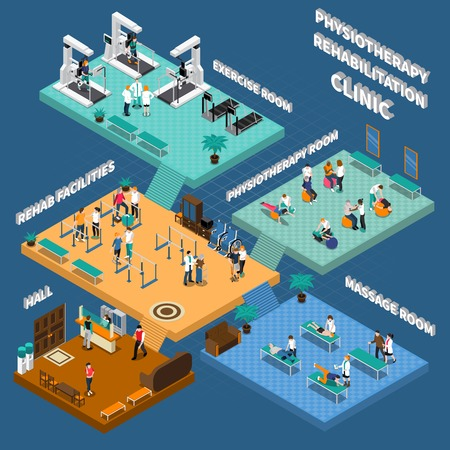 Colored physiotherapy rehabilitation clinic isometric interior with hall rehab facilities exercise massage and physiotherapy rooms vector illustration Illustration
