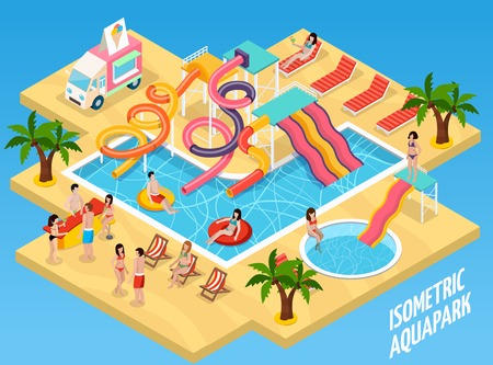 Colored water park aquapark isometric composition with sand beach sun beds swimming pool and visitors vector illustration