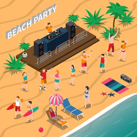 Beach party isometric composition with dj and music equipment, dancing people, loungers, umbrella, palm trees vector illustration