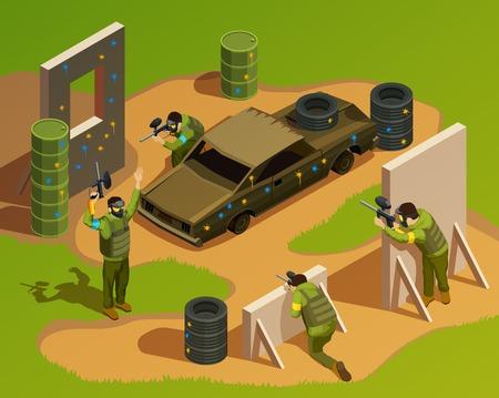 composition isométrique paintball avec caractère de hockey caractères de chasse des roues dentées énormes voitures et les autres débris illustration vectorielle