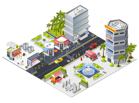 City landscape isometric composition with restaurants in urban skyscrapers and fast food cafe isometric vector illustration Çizim