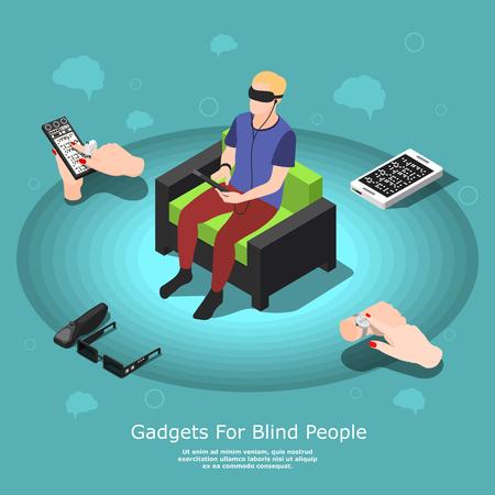 Fondo concettuale della gente cieca isometrica con il carattere maschio ipovedente e vari dispositivi di accessibilità con l'illustrazione di vettore del testo