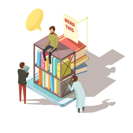 E-learning isometric composition with students near shelves with books on mobile device screen 3d vector illustration