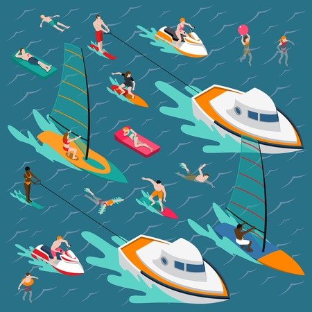 Isometric water sports colored people composition with swimming people in the sea vector illustration Illustration